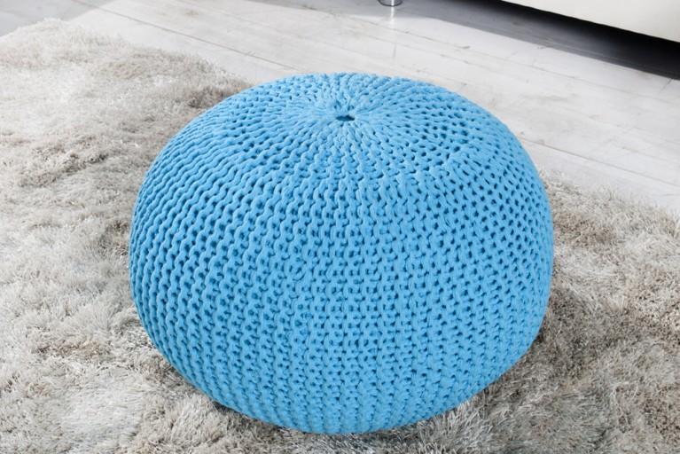 Design Strick Pouf LEEDS türkis 50cm Hocker Baumwolle in Handarbeit Sitzkissen