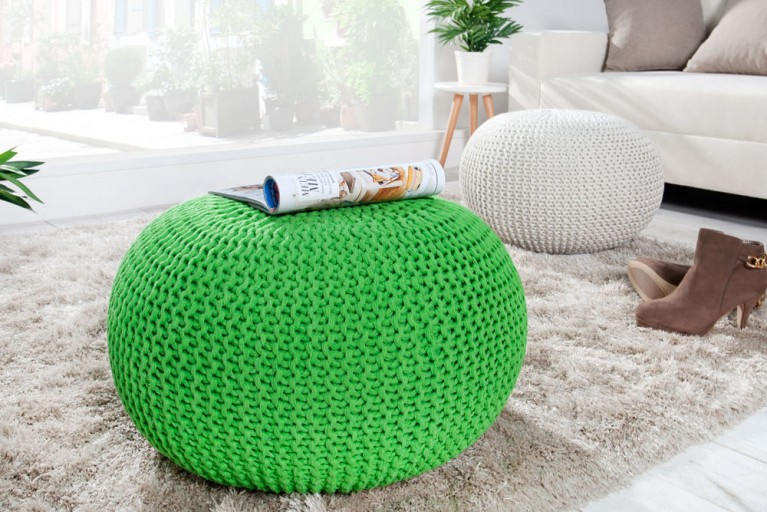 Design Strick Pouf LEEDS lemon 50cm Hocker Baumwolle in Handarbeit Sitzkissen