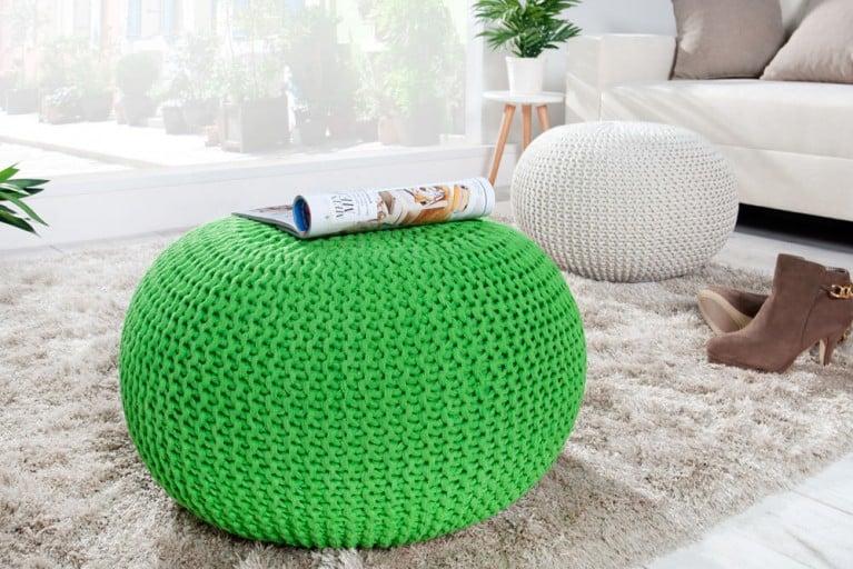 Design Strick Pouf LEEDS lemon 50cm Hocker Baumwolle in Handarbeit