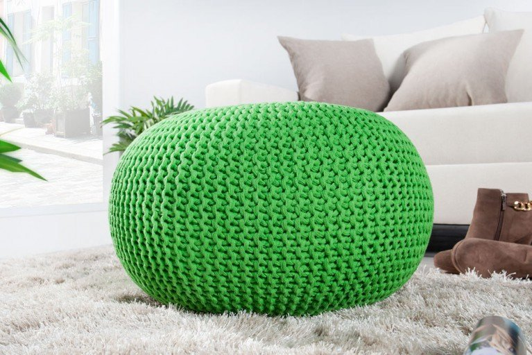 Design Strick Pouf LEEDS lemon 50cm Hocker Baumwolle in Handarbeit