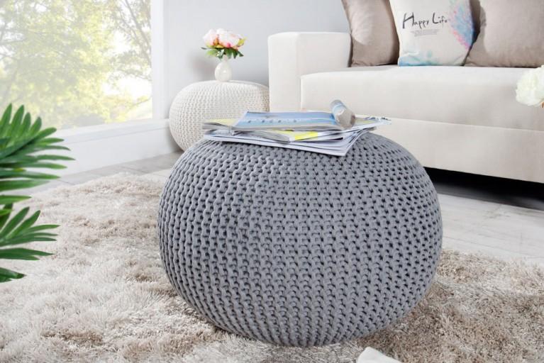 Design Strick Pouf LEEDS grau 50cm Hocker Baumwolle in Handarbeit