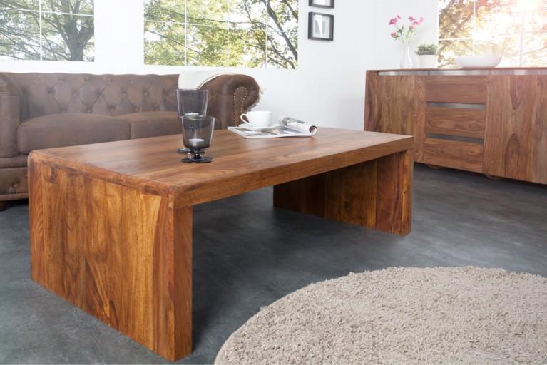 Design Couchtisch CUBIX Sheesham Stone Finish 110cm Massivholztisch
