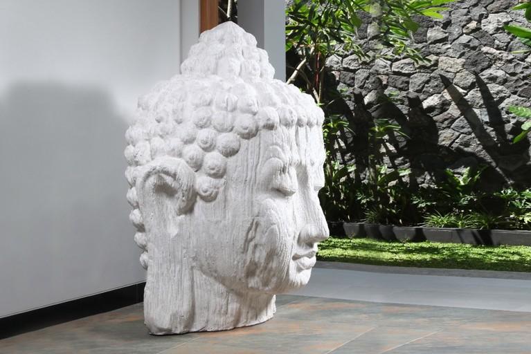 Riesoger XXL BUDDHA KOPF weiß aus Bali 110cm