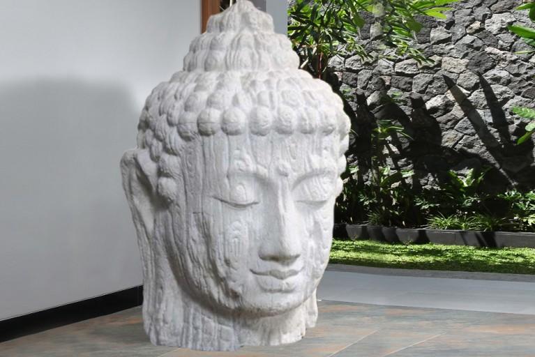 Riesiger XXL BUDDHA KOPF weiß aus Bali 110cm