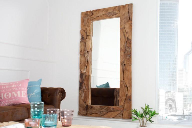 Massiver Treibholz Spiegel TRIBE aus recyceltem Teakholz 160cm