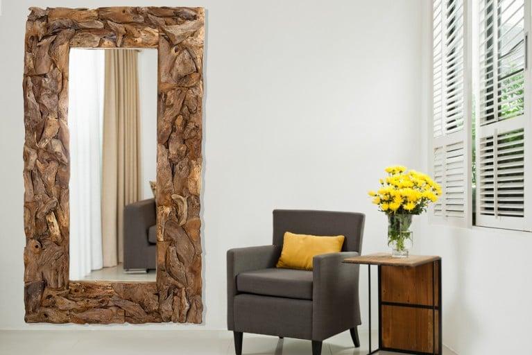 Design Wandspiegel LAKE 200cm Treibholz rechteckig in Handarbeit gefertigt