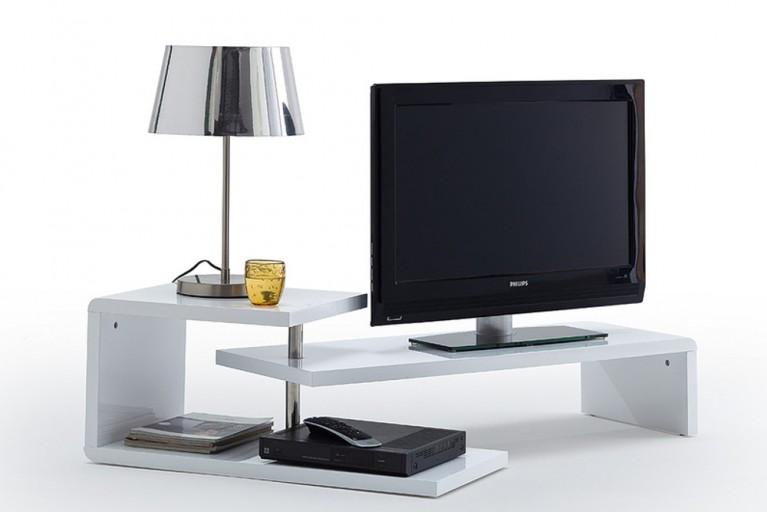 Extravagantes Design TV-Board NEVADA 145 cm weiß Hochglanz drehbares Lowboard