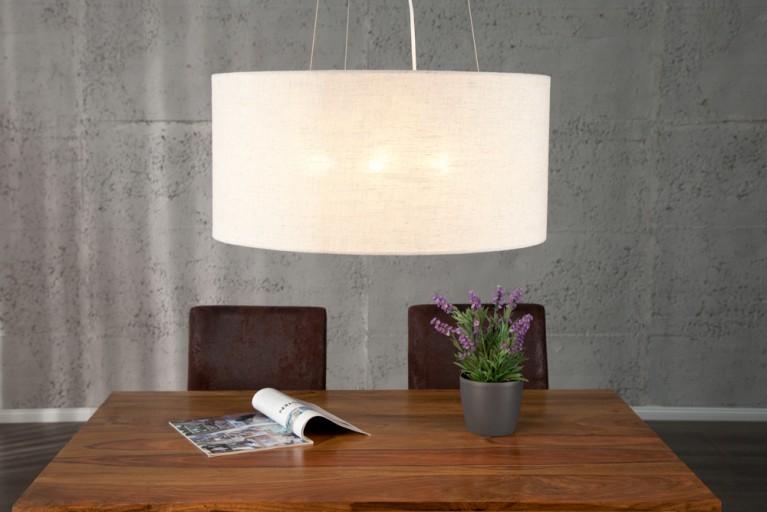 Design Hängeleuchte LAURA beige 50cm hochwertiger Natur Leinen Stoff Hängelampe