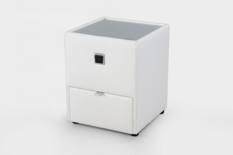 Design Nachtkommode ALEXANDRIA weiß mit Schublade indirekte Beleuchtung