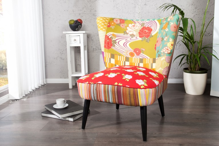 Stylisher Retrosessel SIXTIES PATCHWORK Polstersessel Retro 60er