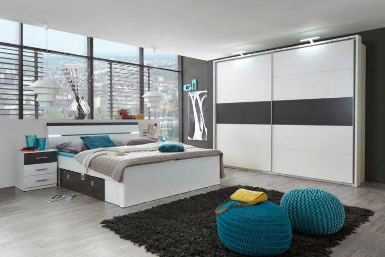 Exklusive Schlafzimmerkombination SOHO XXL 4tlg. weiß / lava Bett mit Nachtkommoden und Kleiderschrank inkl. Zubehör