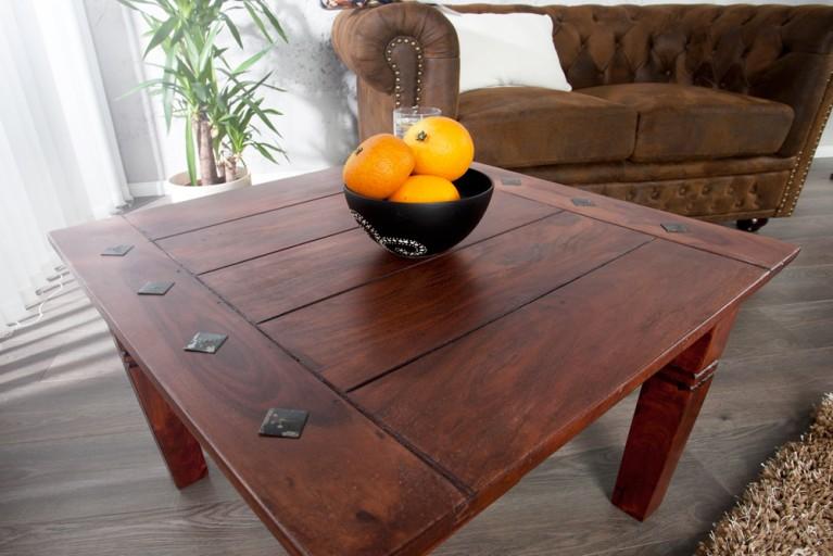Design Beistelltisch HAVANNA im Kolonialstil 60cm sheesham dark coffee