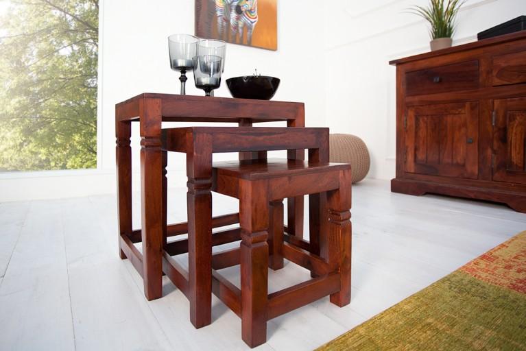 Design Beistelltisch HAVANNA im 3er Set Kolonialstil Sheesham antik lackiert