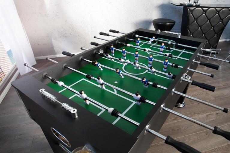 Profi Tischfußball KICKER MASTER schwarz chrom Tischkicker inkl 2 Getränkehalter und 4 Fußbälle