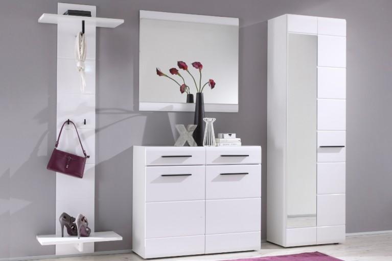 Moderne Garderobe FORMA XL 4-tlg. Set weiß Hochglanz 200cm