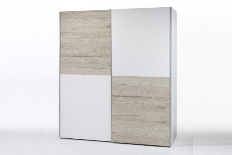 Schwebetüren Kleiderschrank YORK CHESS San Remo hell weiß 170cm