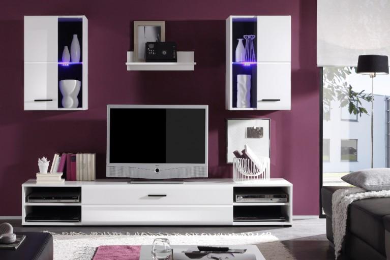 Moderne Design Wohnwand CEVES weiß Hochglanz inkl. LED Beleuchtung