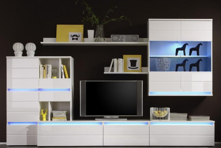 Design Wohnwand MEGA weiß inkl. Multicolor LED Beleuchtung 320cm