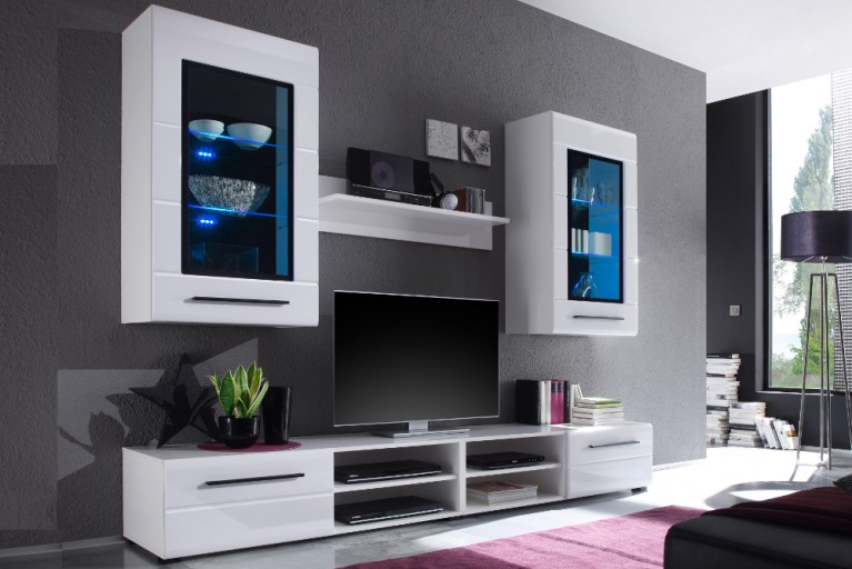 Moderne Design Wohnwand PRIMACY weiß inkl. LED Glaskanten Beleuchtung