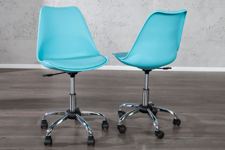 Retro Designklassiker Bürostuhl SCANIA MEISTERSTÜCK hellblau Stuhl mit drehbarem Kreuzgestell aus Chrom
