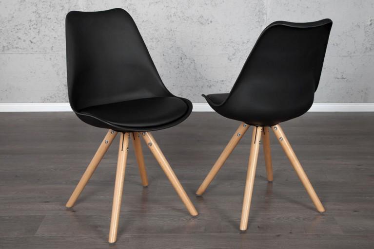 Retro Designklassiker Stuhl SCANIA MEISTERSTÜCK schwarz mit Stuhlbeinen aus Eiche