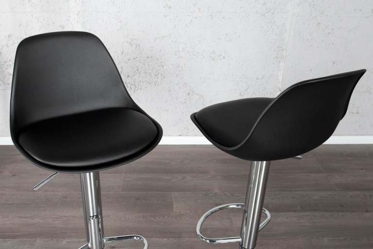 Retro Designklassiker Barhocker SCANIA MEISTERSTÜCK schwarz Chrom-Fuß höhenverstellbar Barstuhl