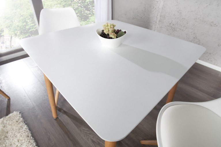Design Retro Esstisch SCANIA MEISTERSTÜCK weiß 80x80 cm mit Tischebeinen aus Eiche