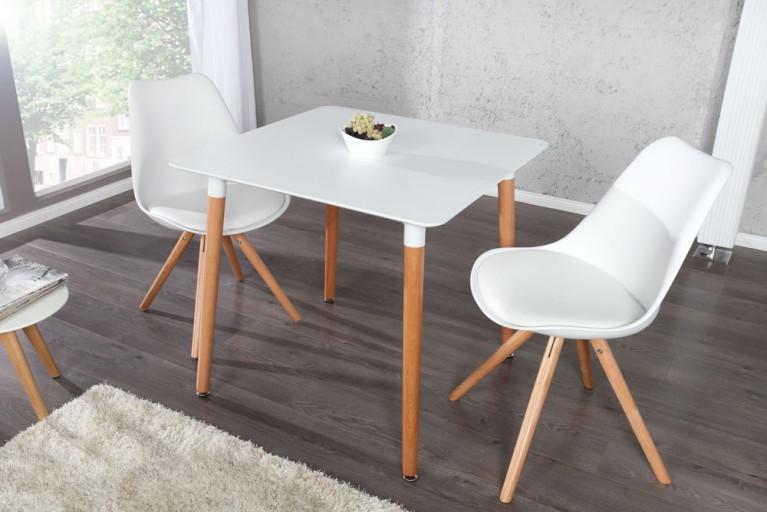 Design Retro Esstisch SCANIA MEISTERSTÜCK weiß 80x80 cm mit Tischbeinen aus Eiche