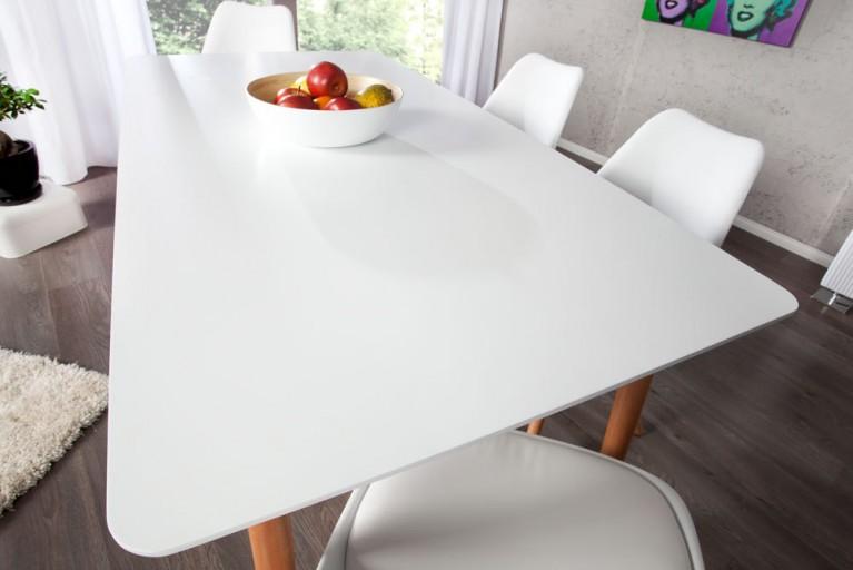 Design Retro Esstisch SCANIA MEISTERSTÜCK weiß 160 cm mit Tischebeinen aus Eiche