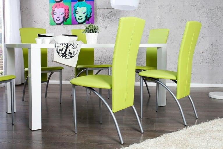 Design Stuhl NICO mit hoher Rückenlehne limette Esszimmerstuhl