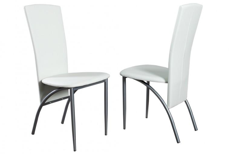 Exklusiver Design Stuhl NICO mit hoher Rückenlehne weiß