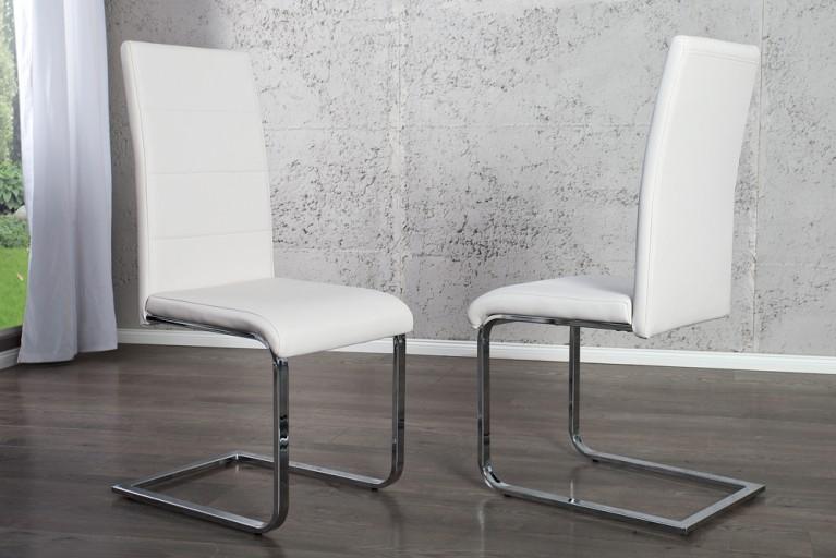 Moderner Design Freischwinger Stuhl MANHATTAN weiß chrom