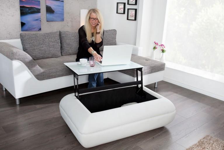 Design Couchtisch LIVING weiß 120cm ausfahrbare Tischplatte Staufach