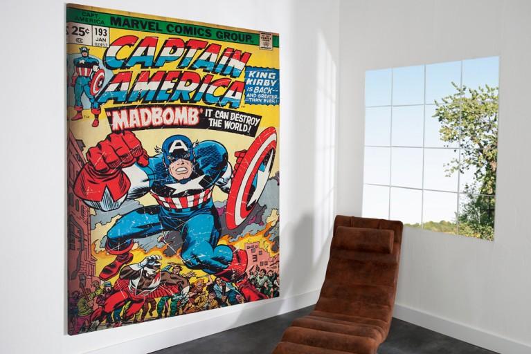 Imposanter Kunstdruck CAPTAIN AMERICA Bild Leinwand 180cm