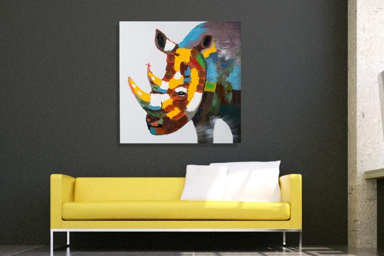 Handgemaltes Pop Art Bild POP RHINO NASHORN 80x80cm Ölgemälde