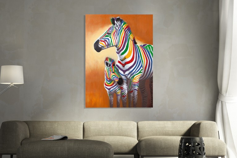 Handgemaltes Pop Art Bild MOTHER IN LOVE 75x100cm Zebras