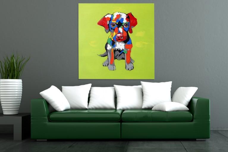 Hochwertiges handgemaltes Ölgemälde POPART PFIFFI Bild auf Keilrahmen und Canvas Leinengewebe 80x80 cm Hund