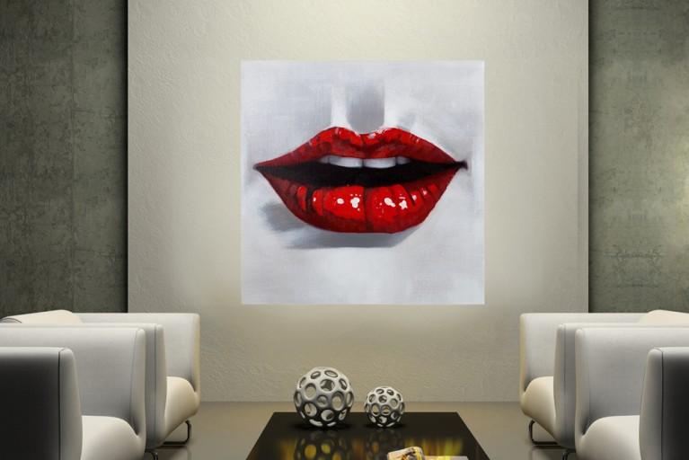 Hochwertiges handgemaltes Ölgemälde RED DESIRE Bild auf Keilrahmen und Canvas Leinengewebe 80x80 cm Kussmund