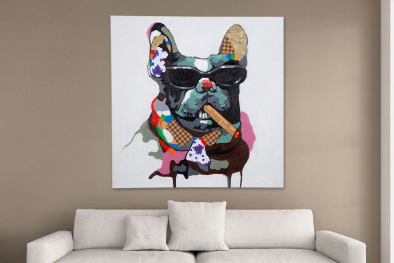 Hochwertiges handgemaltes Ölgemälde POP ART BIG BOSS Bild auf Keilrahmen und Canvas Leinengewebe 80x80 cm Hund