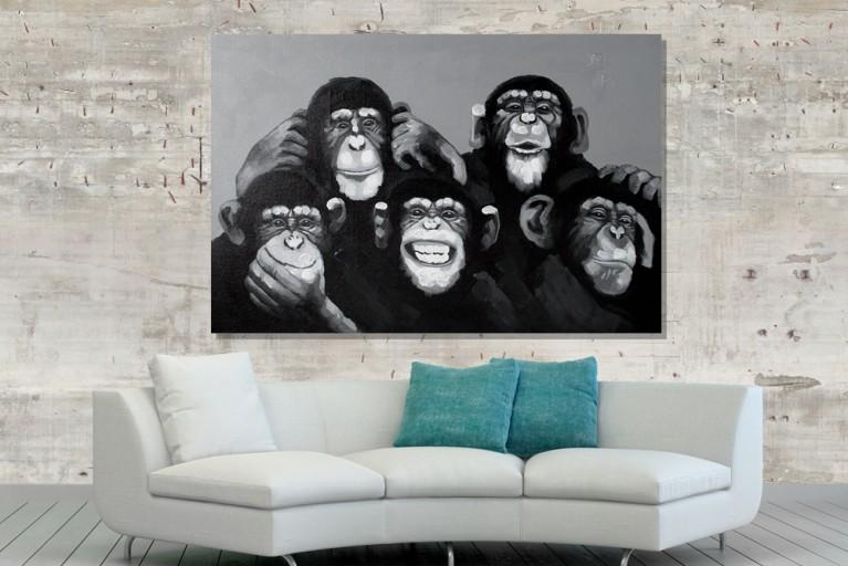 Hochwertiges handgemaltes Ölgemälde POP ART MONKEY BUSINESS Bild auf Keilrahmen und Canvas Leinengewebe 80x120 cm Affen