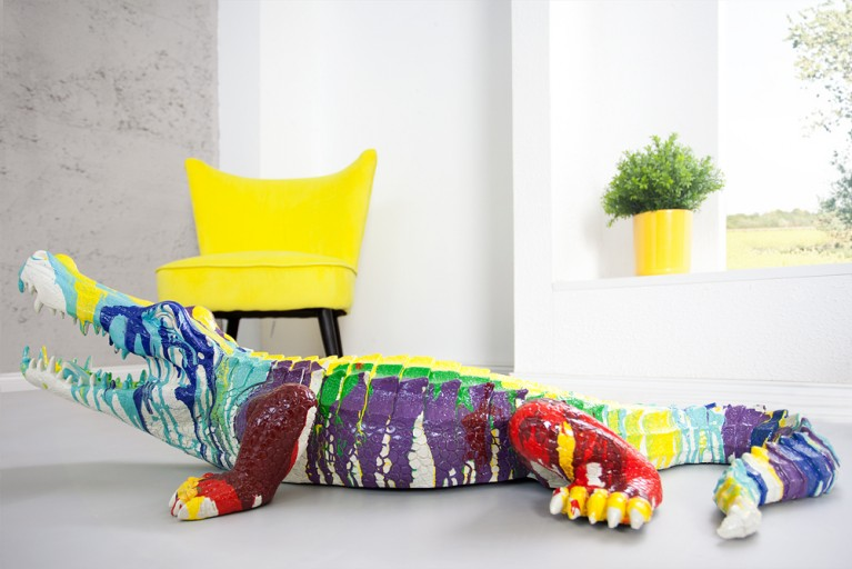 Bunte Skulptur POP ART CROCODILE Kunstwerk farbiges XL Krokodil handbemalt 100 cm