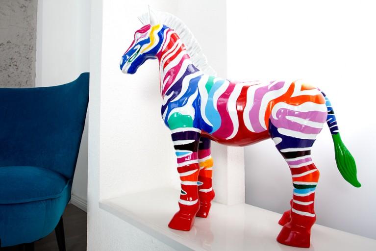 Bunte Skulptur POP ZEBRA Kunstwerk farbig handbemalt 70 cm