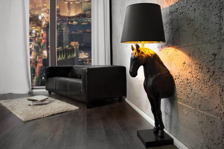 Extravagante Stehlampe BLACK BEAUTY schwarz Pferd mit Lampenschirm