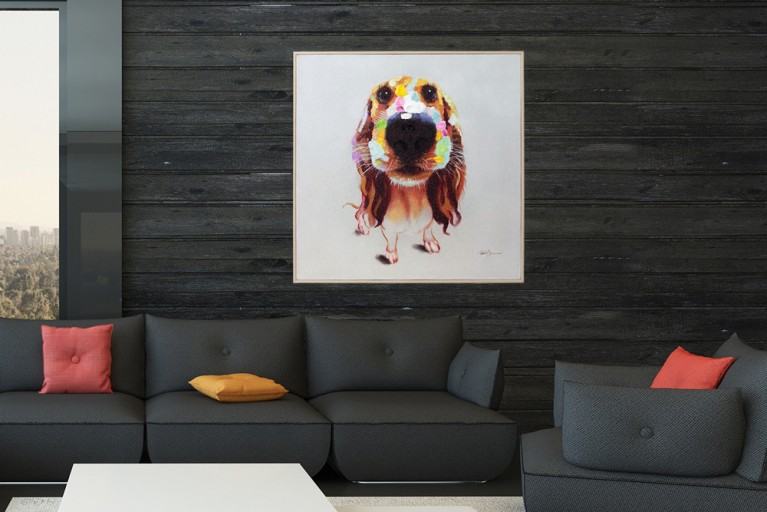 Hochwertiges handgemaltes Ölgemälde POP ART BELLO Bild auf Keilrahmen und Canvas Leinengewebe 50x50 cm Hund