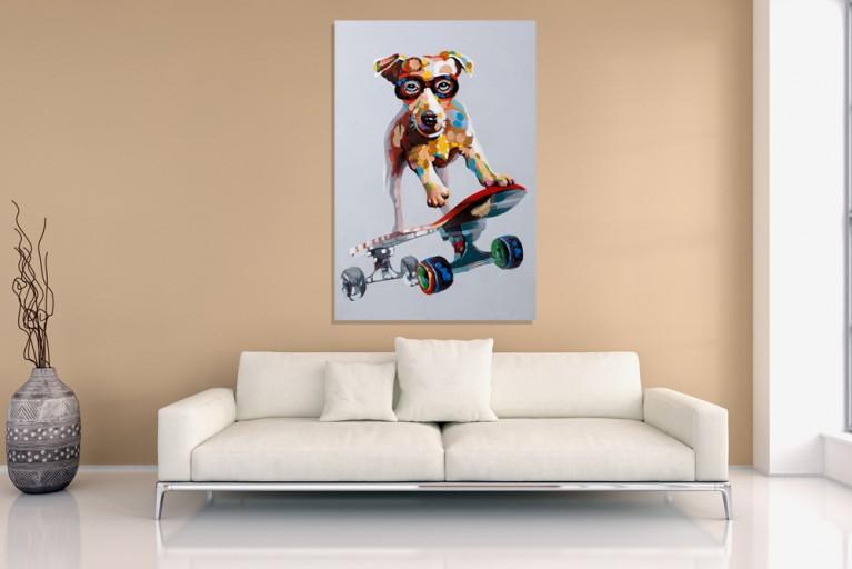 Hochwertiges handgemaltes Ölgemälde POP ART SKATER DUDE Bild auf Keilrahmen und Canvas Leinengewebe 80x120 cm Hund