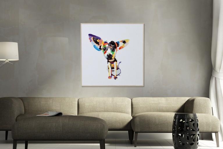 Hochwertiges handgemaltes Ölgemälde POP ART CHIHUAHUA Bild auf Keilrahmen und Canvas Leinengewebe 50x50 cm Hund