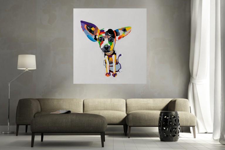 Hochwertiges handgemaltes Ölgemälde POP ART CHIHUAHUA Bild auf Keilrahmen und Canvas Leinengewebe 80x80 cm Hund