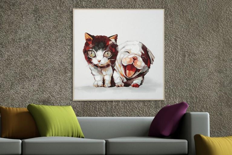 Hochwertiges handgemaltes Ölgemälde POP ART CAT AND DOG Bild auf Keilrahmen und Canvas Leinengewebe 50x50 cm