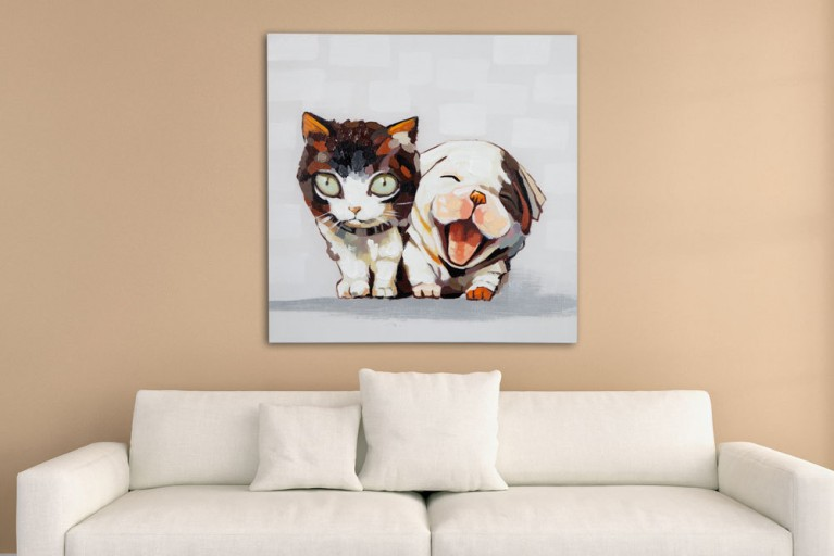 Hochwertiges handgemaltes Ölgemälde POP ART CAT AND DOG Bild auf Keilrahmen und Canvas Leinengewebe 80x80 cm Katze Hund