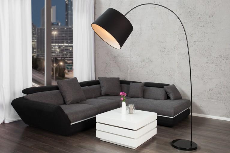 Design Stehleuchte FORMA schwarz weiß Bogenlampe Bogenleuchte